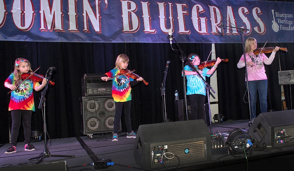 The Twinkle Fiddle Girls at Bloomin' 2018 (photo by Perry Callahan)