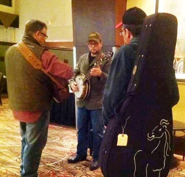 Ron Block and Kenny Thacker jamming in the lobby at Lone Star Fest 2015. Photo by Danny Logan.