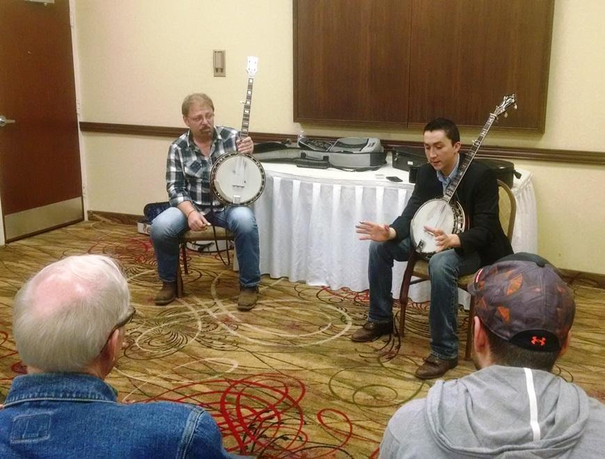 Ron Stewart and Luke Munday teach the Banjo Workshop at Lone Star Fest 2015.