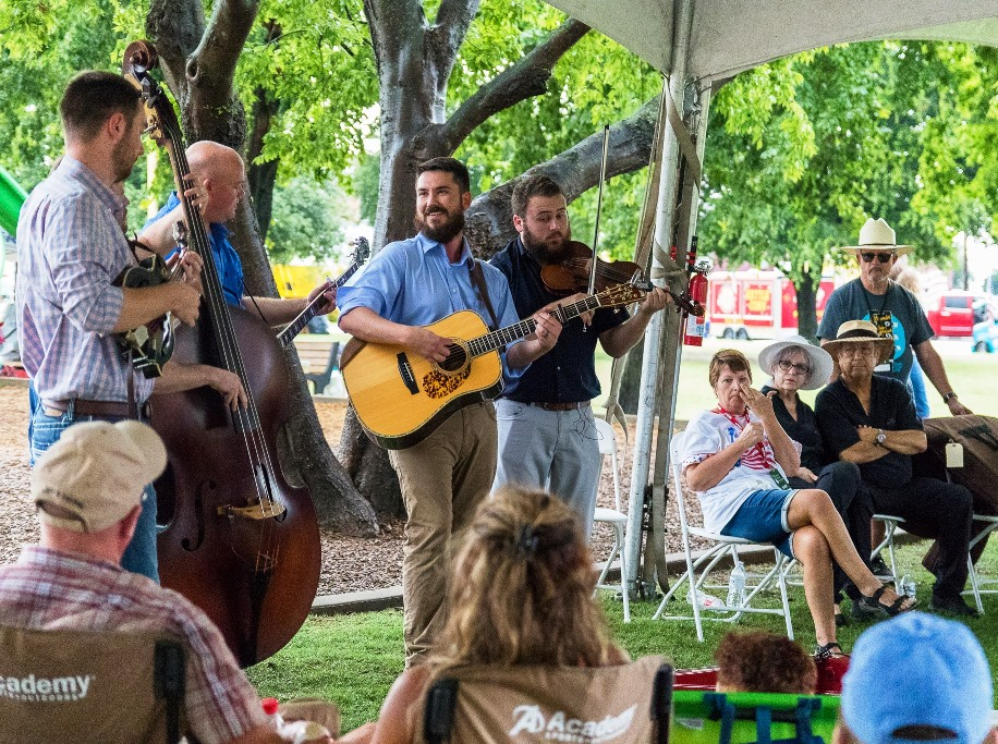 Breaking Grass acoustic set at Wylie Jubilee 2019.  Photo by Nate Dalzell.