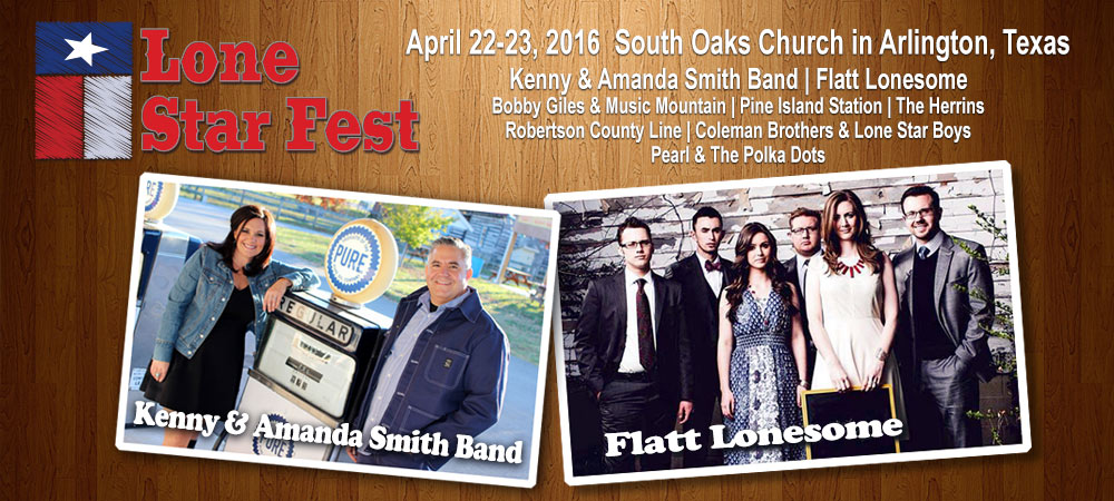 Lone Star Fest April 22-23, 2016 featuring Kenny & Manada Smith Band and Flatt Lonesome.