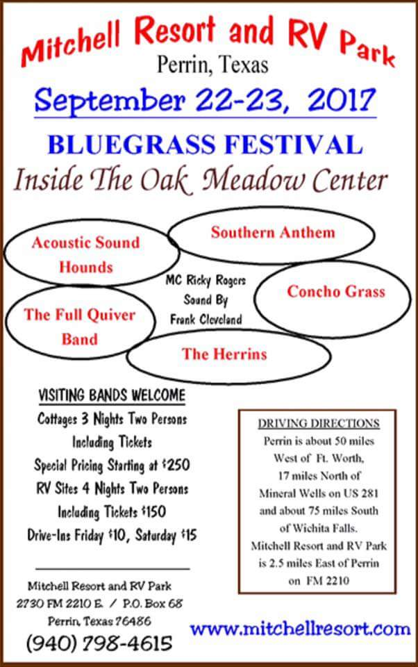 Mitchell Resort Bluegrass Festival Flyer