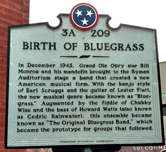 Birth of Bluegrass sign by the Tennessee Historical Commission at the Ryman Auditorium