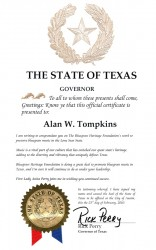 Texas Governor Rick Perry Certificate of Recognition